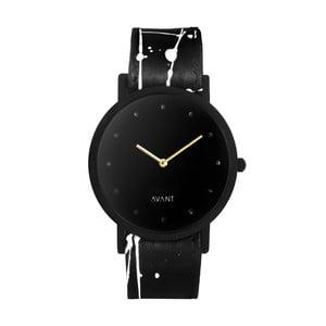 Čierne unisex hodinky s čierno-bielym remienkom South Lane Stockholm Avant Pure