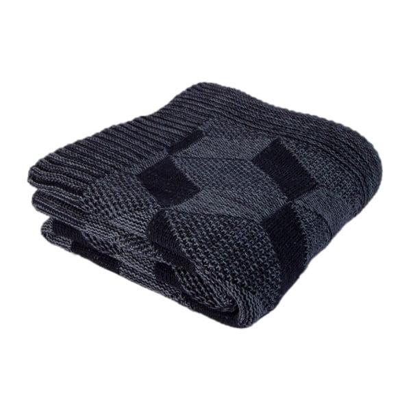 Tmavomodrá bavlnená deka Clen, 130×170cm