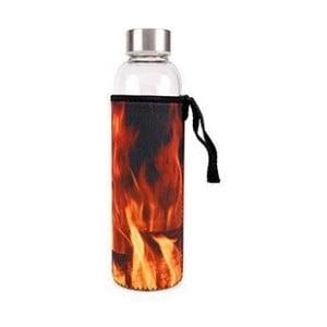 Sklenená fľaša na vodu s obalom Kikkerland Fire, 600 ml