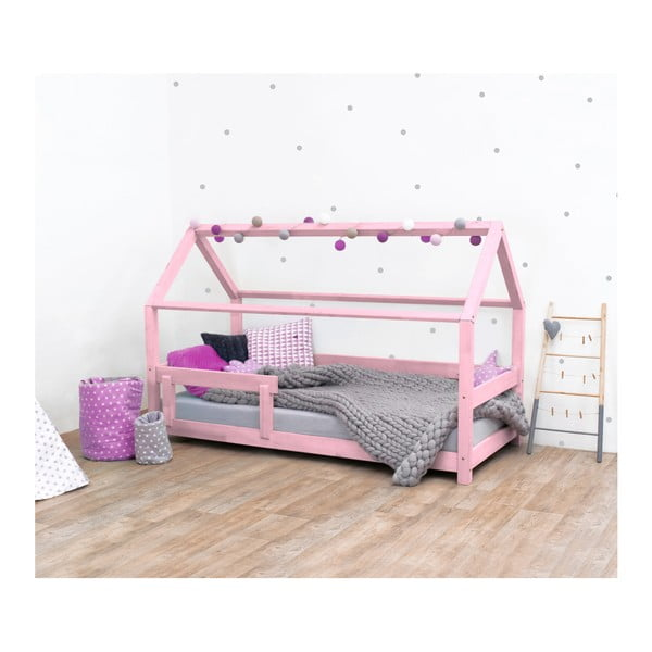 Ružová detská posteľ s bočnicami zo smrekového dreva Benlemi Tery, 90×180 cm