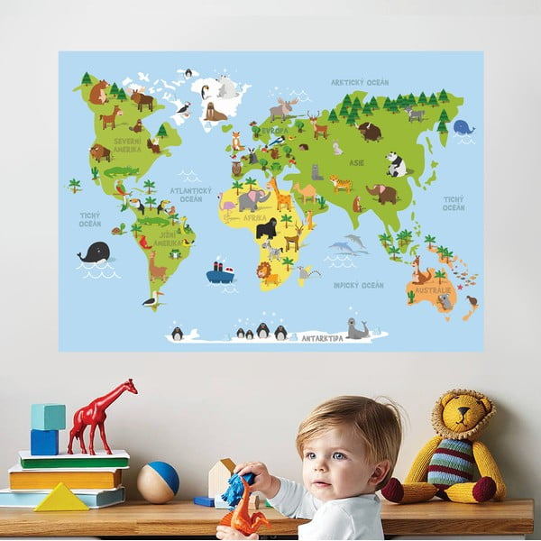 Samolepka na stenu Mapa zvierat, 70 x 50 cm