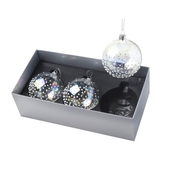 Vianočné ozdoby Ball Dotty Clear, 3 ks