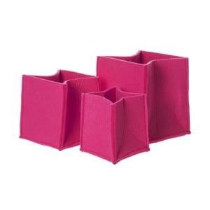 Sada 3 ružových plstených košov PT Mellow