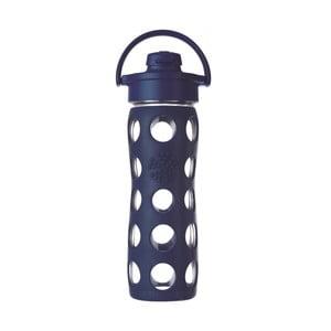 Sklenená fľaša na vodu so silikónovým chráničom Lifefactory Flip Midnight, 475 ml
