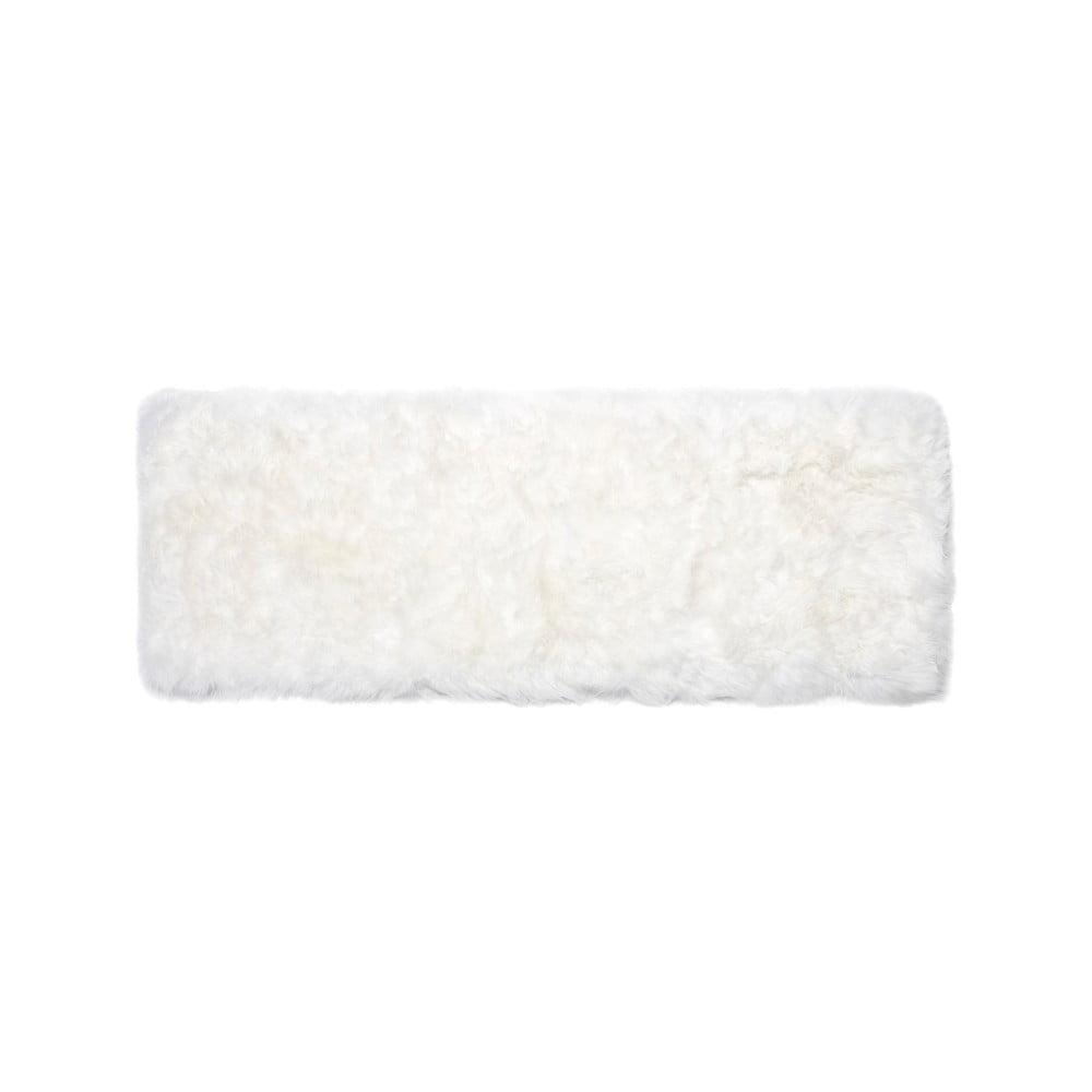 Biely obdĺžnikový koberec z ovčej vlny Royal Dream Zealand, 190 × 70 cm
