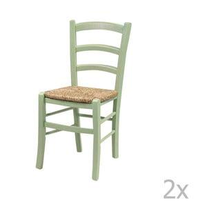 Sada 2 zelených jedálenských stoličiek z masívneho dreva Crido Consulting Straw