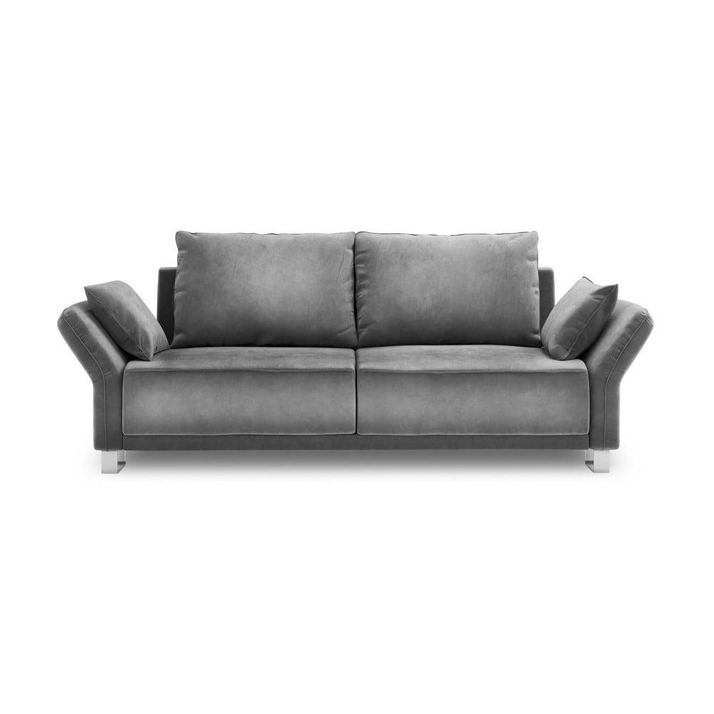 Sivý trojmiestna rozkladacia pohovka so zamatovým poťahom Windsor & Co Sofas Pyxis