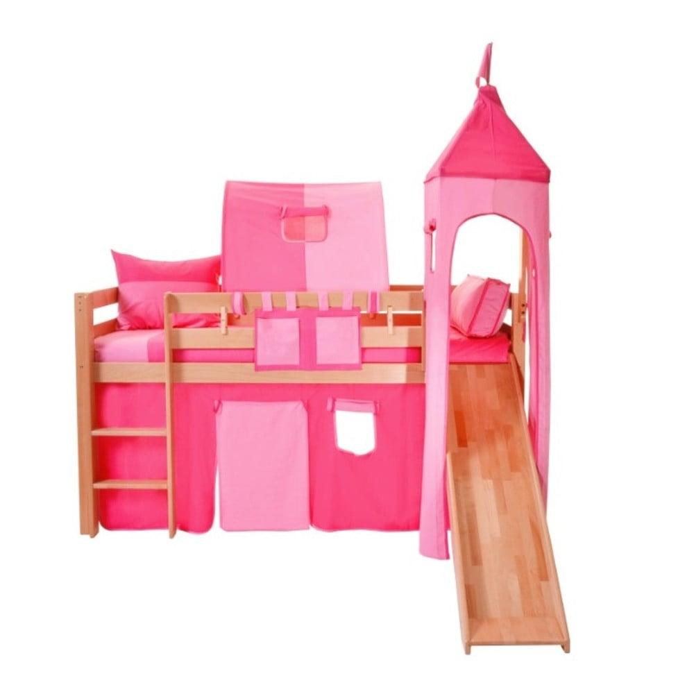 Ružový bavlnený hradný set na detské poschodové postele Mobi furniture Luk a Tom