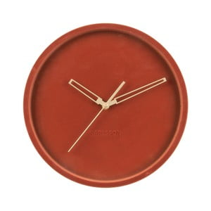 Ílovohnedé zamatové nástenné hodiny Karlsson Lush, ø 30 cm