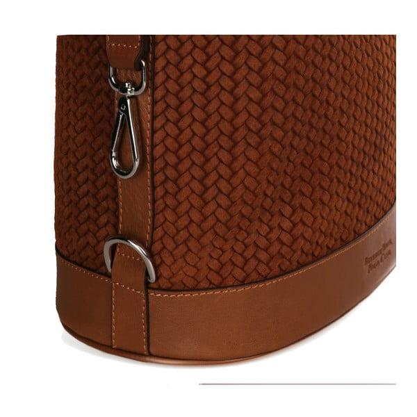 Hnedá kožená kabelka Beverly Hills Polo Club Adriane