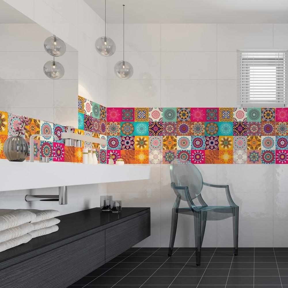 Sada 24 dekoratívnych samolepiek na stenu Ambiance Clarissa, 15 × 15 cm