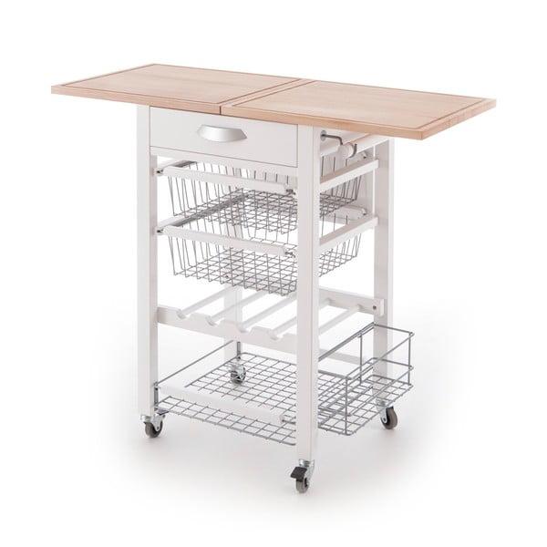 Biely servírovací stolík z bukového dreva Arredamenti Italia Gastone