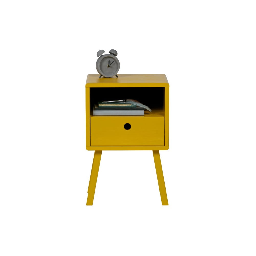 Žltý nočný stolík z masívneho borovicového dreva WOOOD Sammie