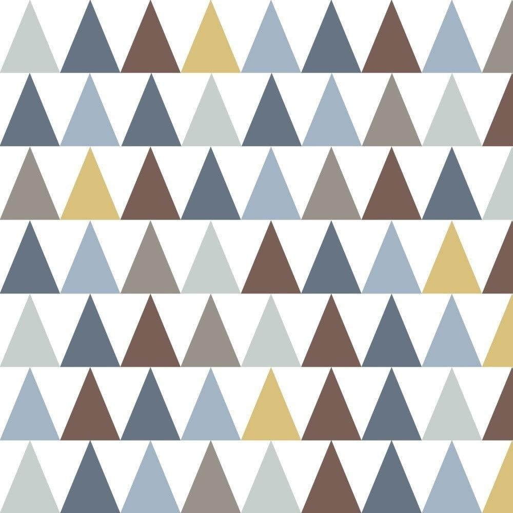 Tapeta do detskej izby s modrými detailmi Art For Kids Triangles, 48 × 1000 cm