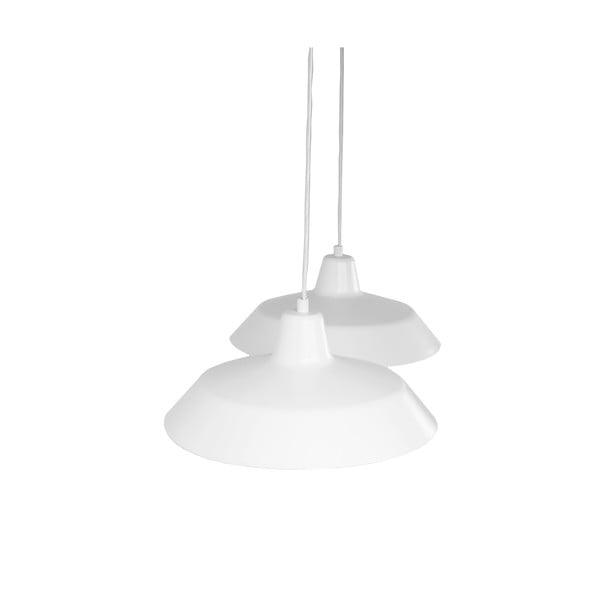 Závesné svietidlo s 2 bielymi káblami a tienidlami v bielej a medenej farbe Bulb Attack Cinco