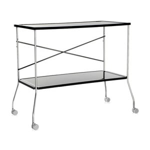 Čierny odkladací stolík na kolieskach Kartell Flip