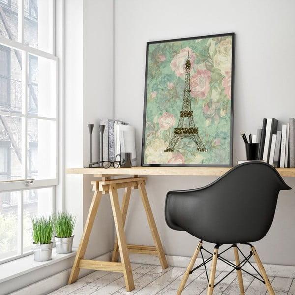 Plagát v drevenom ráme Eiffel, 38x28 cm