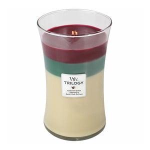 Sviečka s vôňou škorice, jedle a sladkostí Woodwick Trilogy, doba horenia 130 hodín