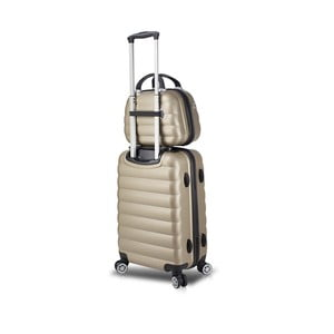 Sada zlatého cestovného kufra na kolieskach s USB portom a príručného kufríka My Valice RESSNO MU & M