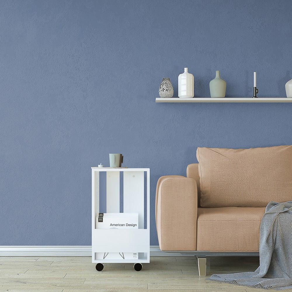 Biely odkladací stolík Monica, výška 60 cm