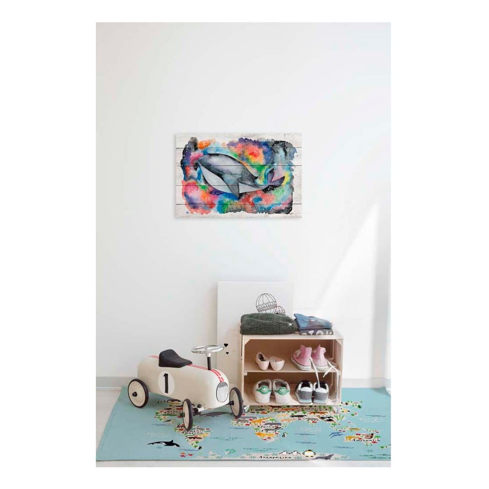 obraz na dreve little nice things whale 60 x 40 cm bonami. Black Bedroom Furniture Sets. Home Design Ideas