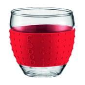 Sada 2 pohárov Pavina Small, červený prúžok