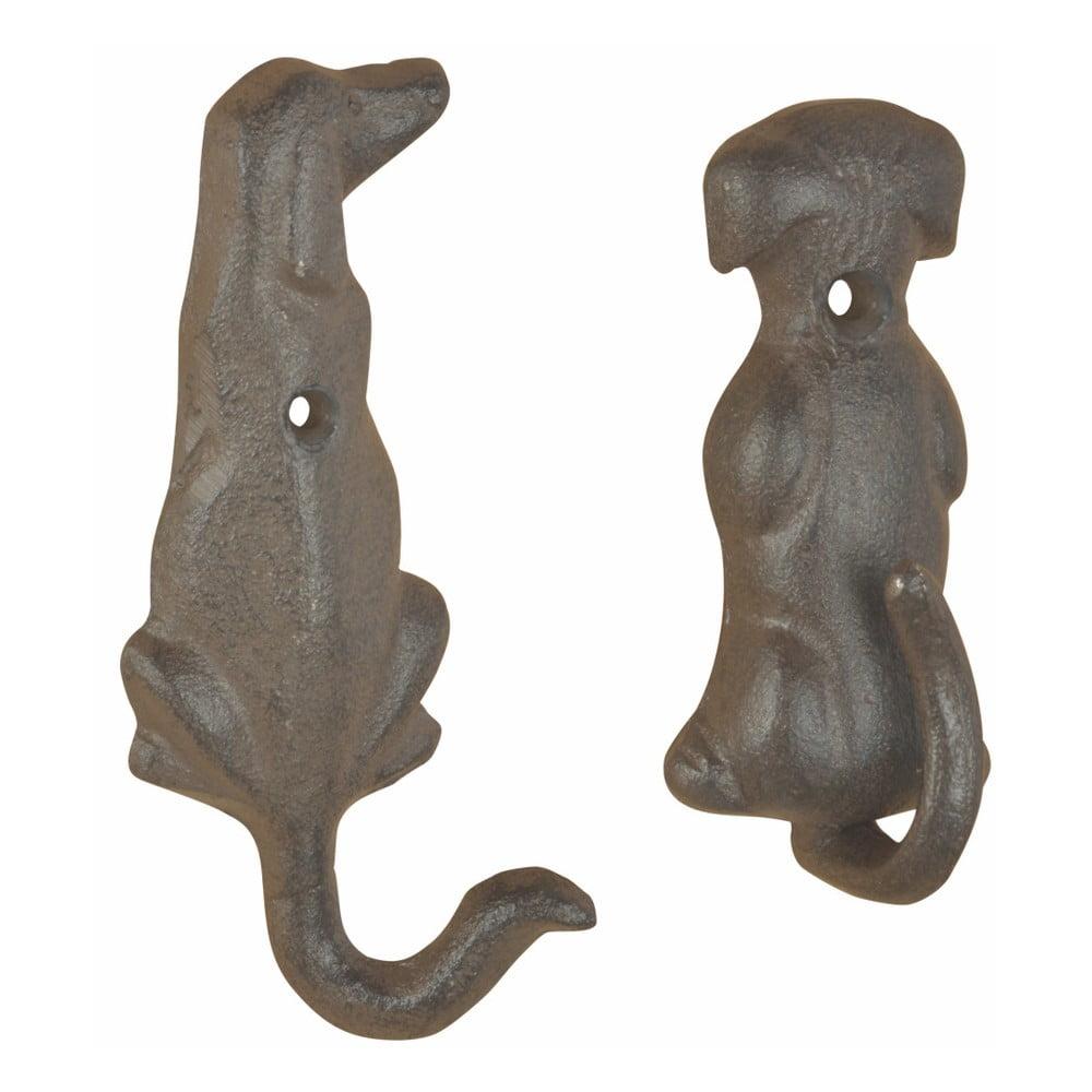 Sada 2 liatinových nástenných háčikov v tvare psieho chvostíka Esschert Design