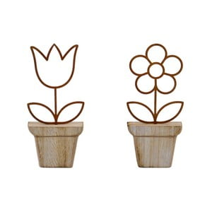 Sada 2 drevených dekorácií v tvare kvetín Ego Dekor, 6,5×15 cm