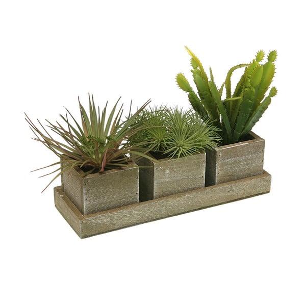 Sada 3 kvetináčov s umelými  rastlinami Versa Quadrio