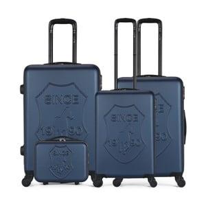 Sada 4 tmavomodrých cestovných kufrov na kolieskach GENTLEMAN FARMER Integre & Vanity