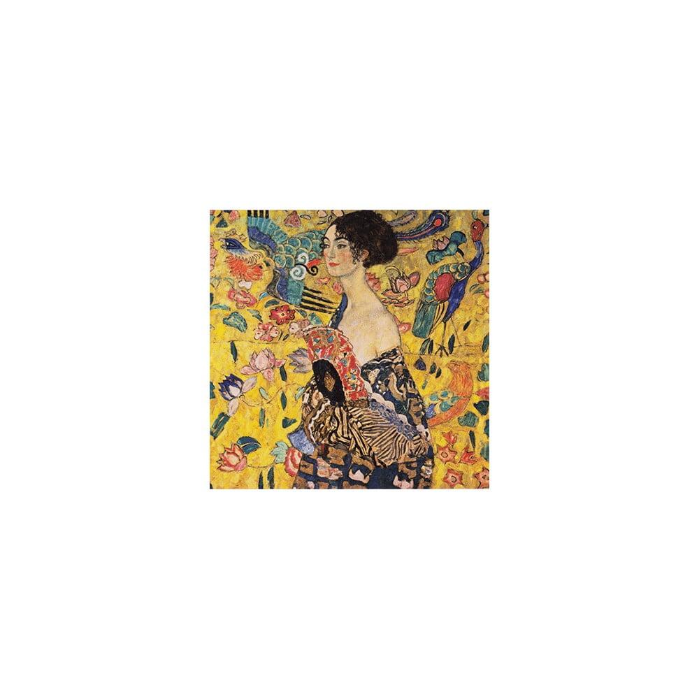 Reprodukcia obrazu Gustav Klimt Lady With Fan, 40 × 40 cm