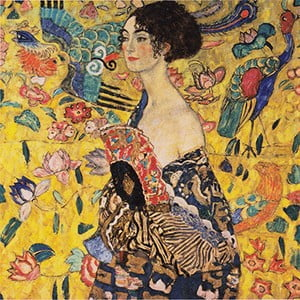 Reprodukcia obrazu Gustav Klimt Lady With Fan, 40 x 40 cm