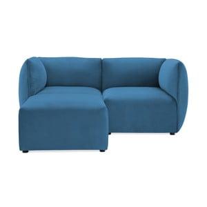 Modrá dvojmiestna modulová pohovka s podnožkou Vivonita Velvet Cube
