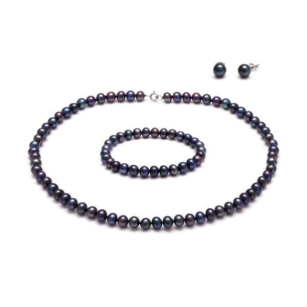 Sada náhrdelníka a náramku z riečnych perál Peacock