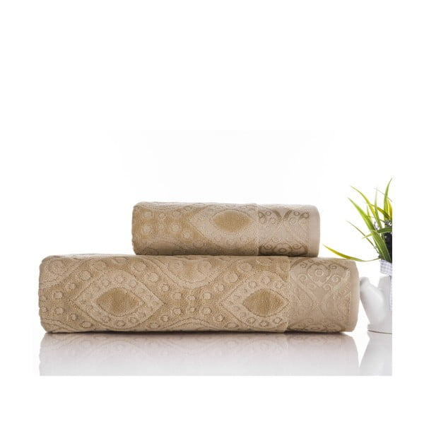 Sada uteráka a osušky Sal Light Brown, 50x90 cm a 70x140 cm