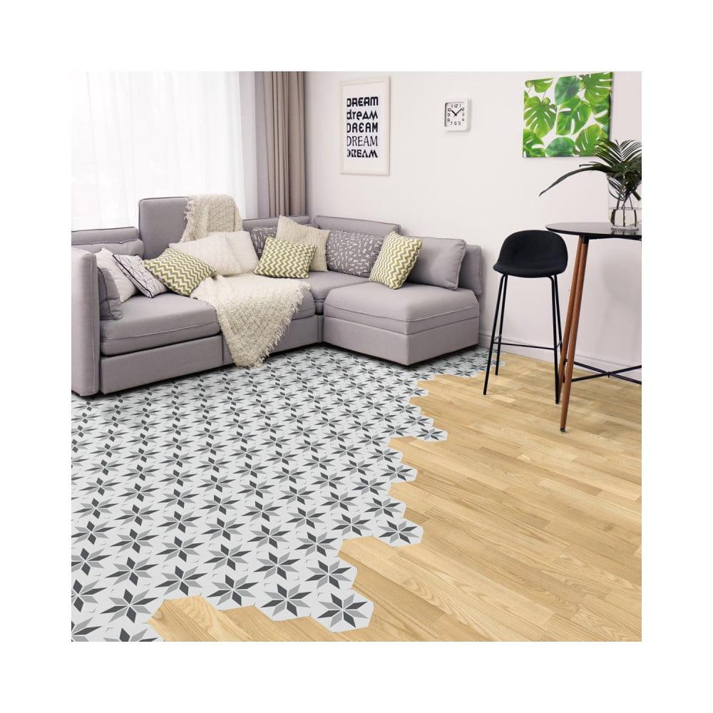 Sada 10 samolepiek na podlahu Ambiance Floor Stickers Hexagons Perina, 40 × 90 cm
