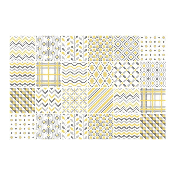 Sada 24 nástenných samolepiek Ambiance Scandinavian Tiles Stockholm, 10 × 10 cm