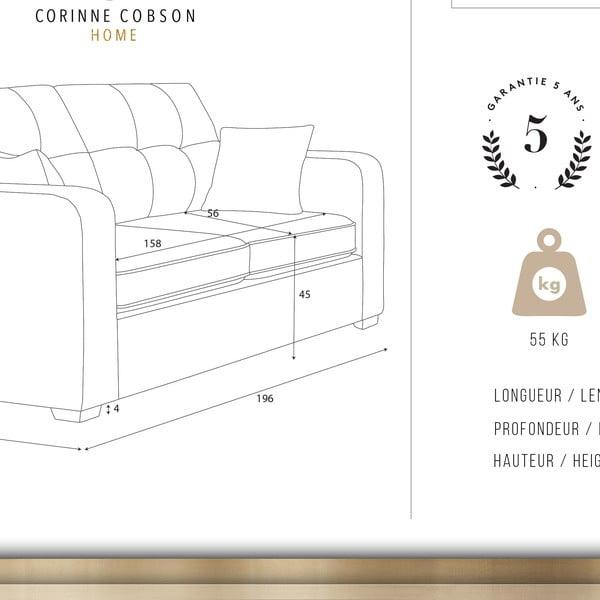 Sivá trojmiestna pohovka Corinne Cobson Home Melvin