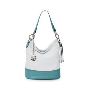 Kožená kabelka Luigi, biela/sv.modrá