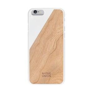 Biely obal na mobilný telefón s dreveným detailom pre iPhone 6 a 6S Native Union Clic Wooden Light