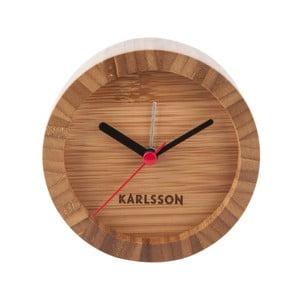 Hnedé stolové bambusové hodiny s budíkom Karlsson Tom