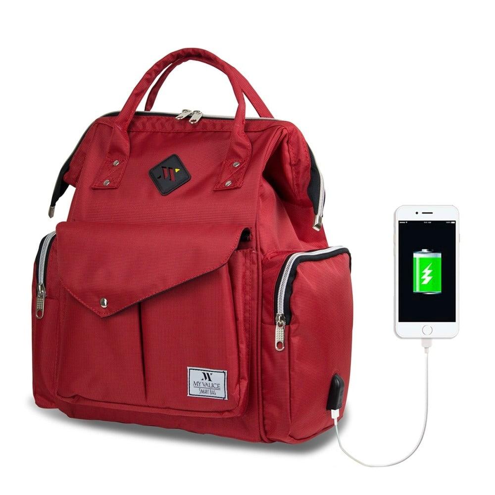 Červený batoh pre mamičky s USB portom My Valice HAPPY MOM Baby Care Backpack