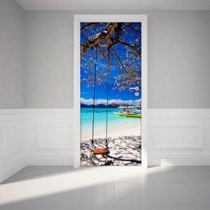 Adhezívna samolepka na dvere Ambiance Tropical beach and swing