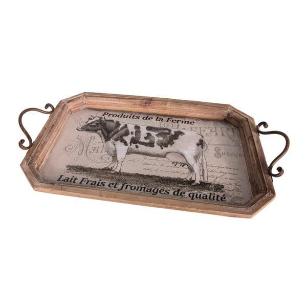 Drevená servírovacia tácka Antic Line Cow