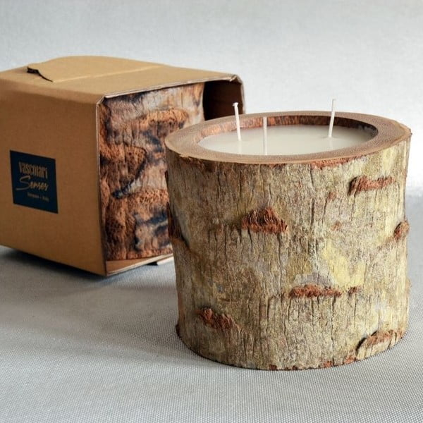 Palmová sviečka Legno Ebony s vôňou vanilky a pačuli, 100 hodín horenia