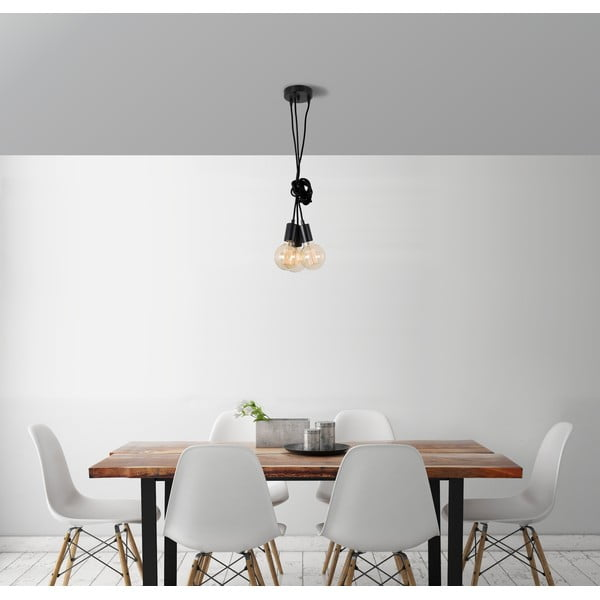 Čierne trojité závesné svetlo Filament StyleSpider