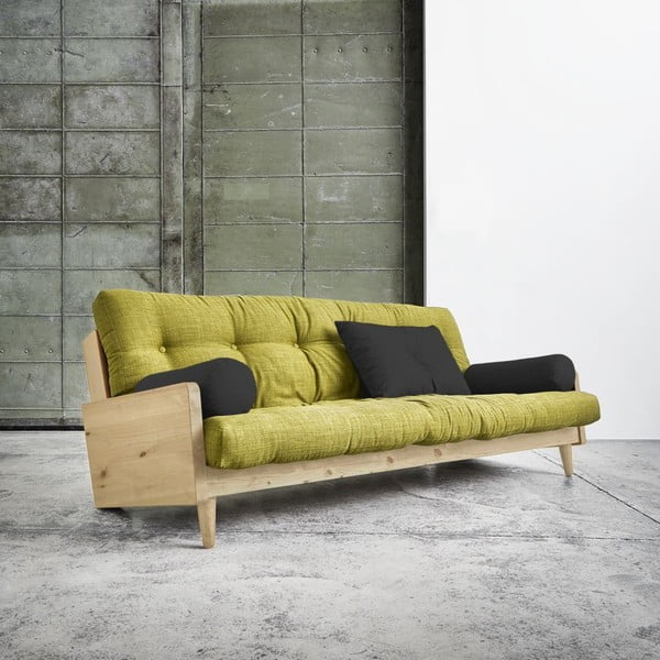 Rozkladacia pohovka Karup Indie Natural/Avocado Green/Dark Grey