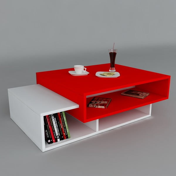 Konferenčný stolík Tab White/Red, 60x105x32 cm