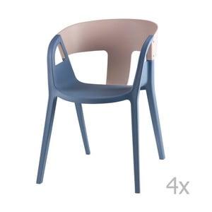 Sada 4 sivo-modrých jedálenských stoličiek sømcasa Willa