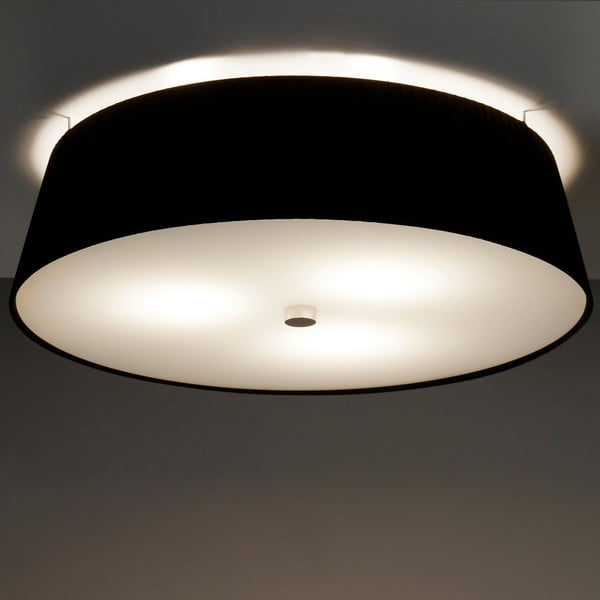 Čierne stropné svietidlo Bulb Attack Dos Plisado, ⌀45cm